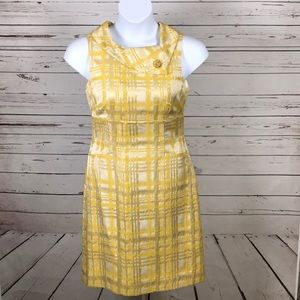 "Vintage yellow plaid sleeveless ""Madmen"" dress 10"